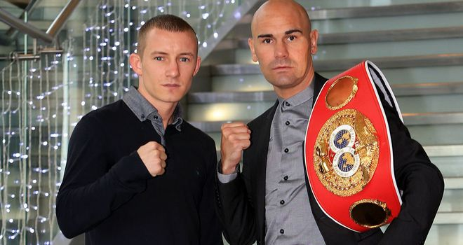 Paul Butler (l) and Stuart Hall ahead of June's bantamweight showdown