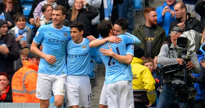 Samir Nasri: Celebrates his goal just before half-time