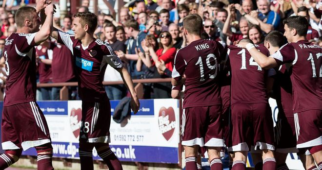 Celebrations at Tynecastle after hosts Hearts had taken the lead from the penalty spot