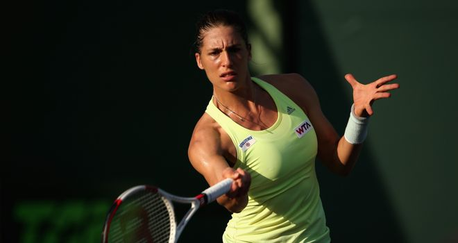 Andrea Petkovic of Germany plays a forehand