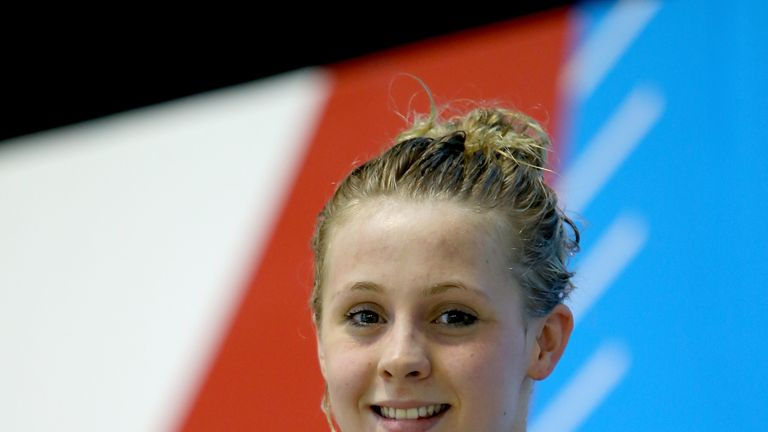 Siobhan-Marie O'Connor: Poses with her medal after winning the Women's 200m Freestyle at British Gas Swimming Championships