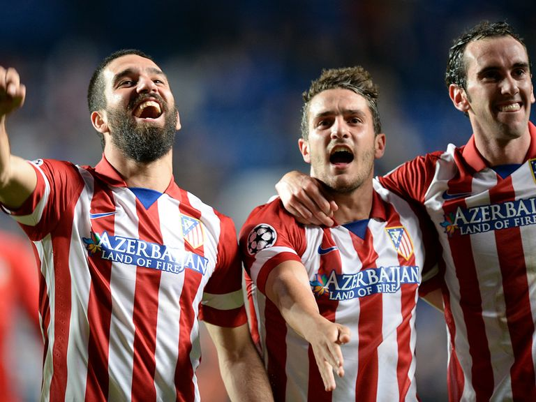 Atletico Madrid players celebrate after progressing past Chelsea in the semi-finals