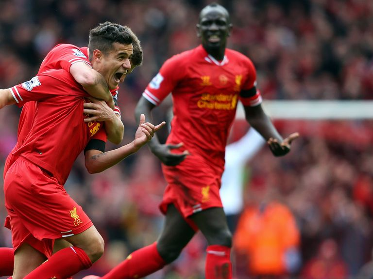 Coutinho celebrates his winning goal that leaves Liverpool odds-on for the title