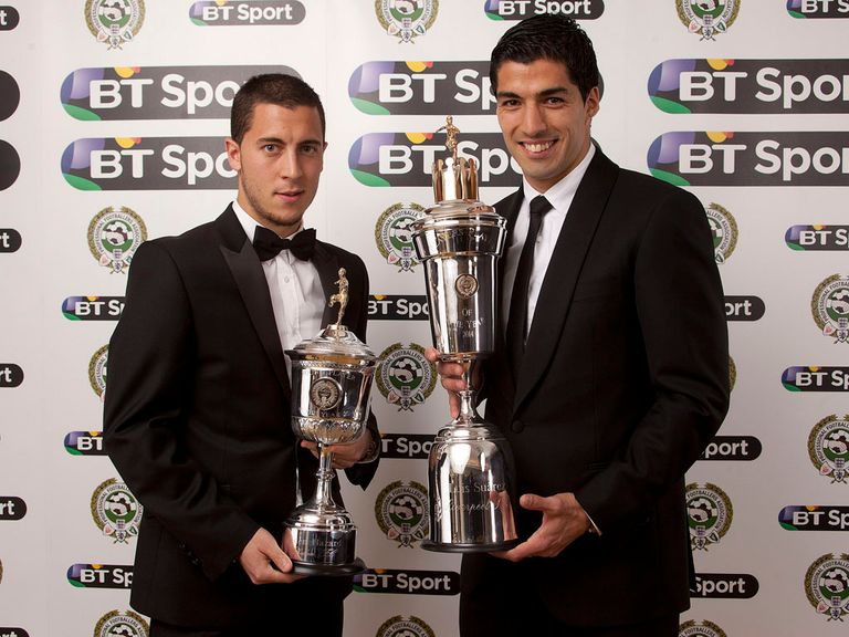 Eden Hazard (l) and Luis Suarez scooped the top PFA awards