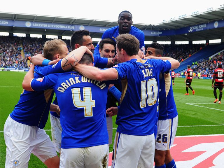 Leicester players celebrate at the end of the Championship season