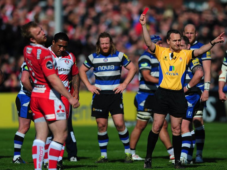 Gloucester's Sila Puafisi is shown the red card