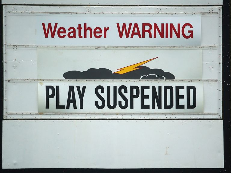 Play was suspended at Masters practice