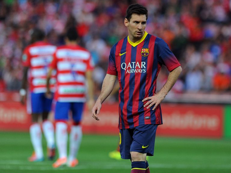 Barcelona's Lionel Messi shows his disappointment