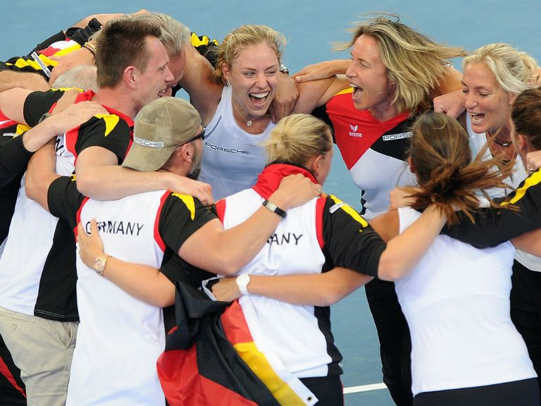 Germany celebrate qualifying for the Fed Cup final