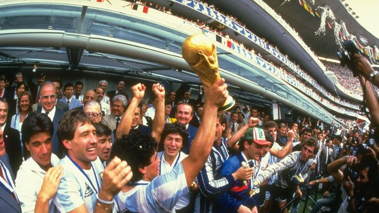 Lifting the World Cup in 1986