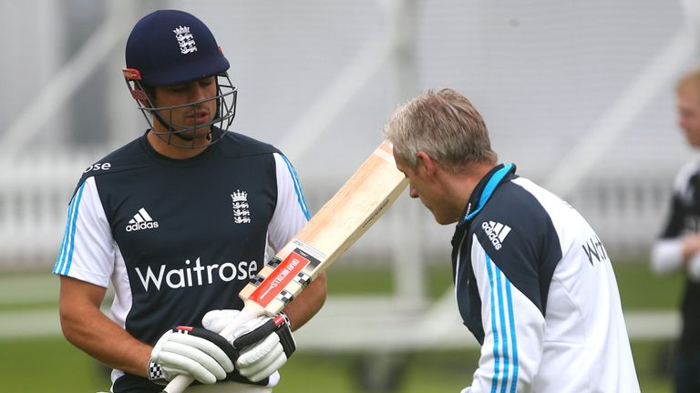 Captain Alastair Cook in training with coach Peter Moores