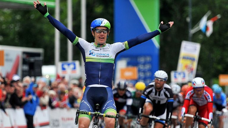 Daryl Impey celebrates winning stage three of Bayern Rundfahrt in May