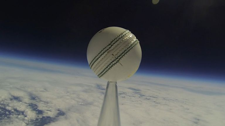 To boldly go: the ball, as seen some 20 miles up from the earth