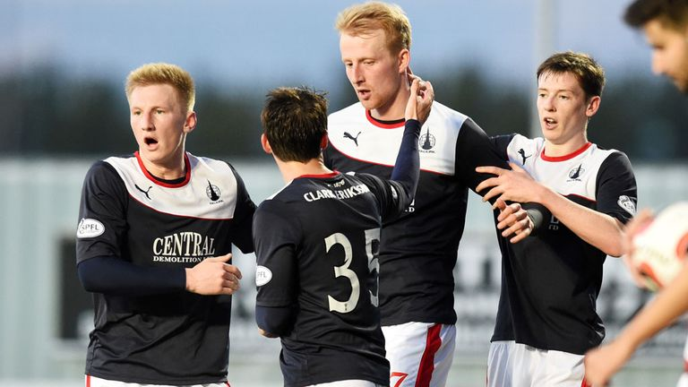 Falkirk's players celebrate their equaliser against Hamilton