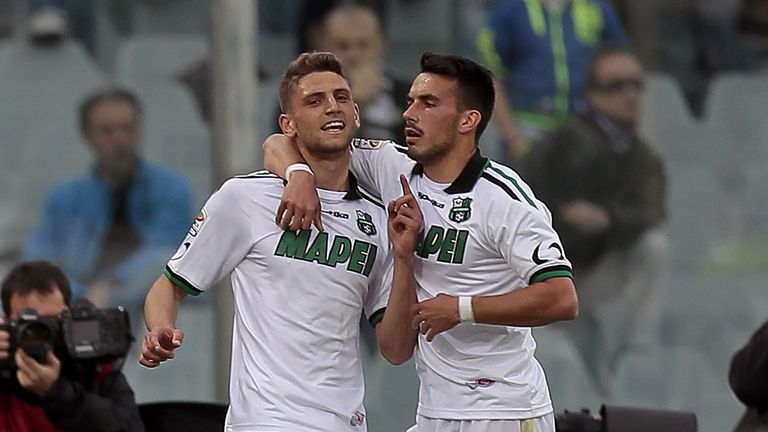 Domenico Berardi (right) celebrates one of his three goals