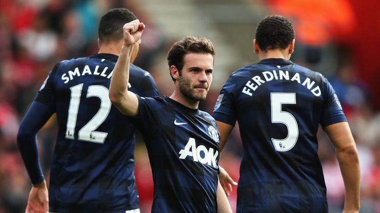 Juan Mata: Manchester United midfielder celebrates his goal at Southampton