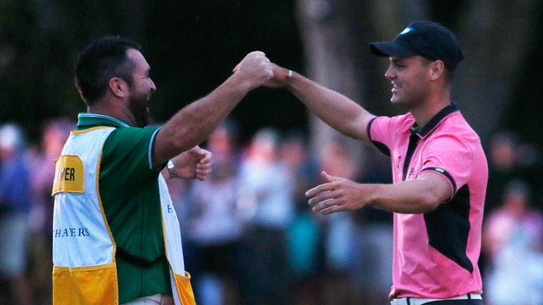 Martin Kaymer celebrates his win at Sawgrass with caddie Craig Connelly