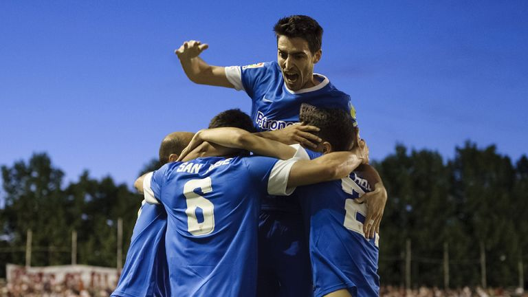 Mikel San Jose and Bilbao celebrate his goal