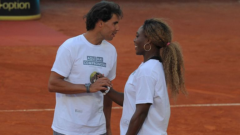 Rafa Nadal (L) chats to Serena Williams at a recent charity event in Madrid