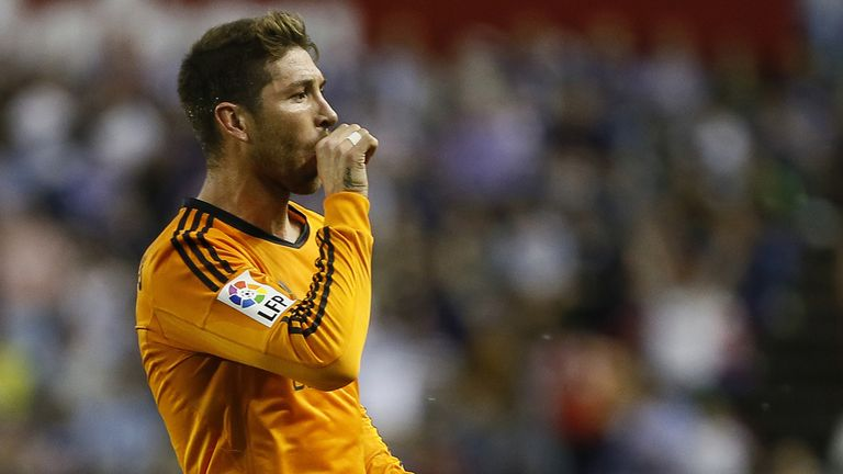 Real Madrid's defender Sergio Ramos celebrates