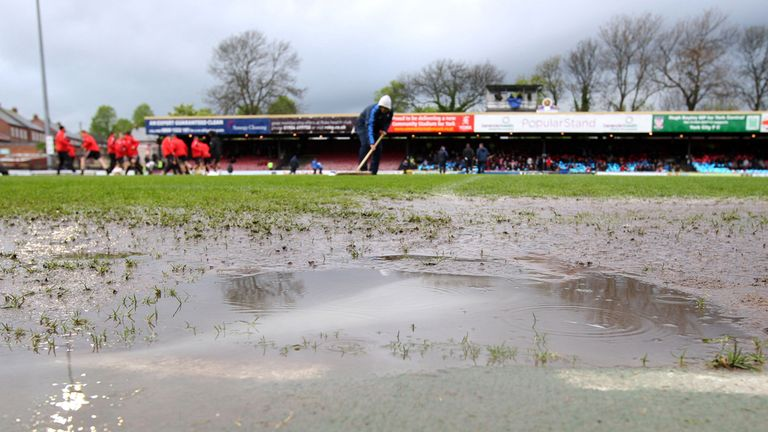 Bootham Crescent: Hit by rain on Saturday