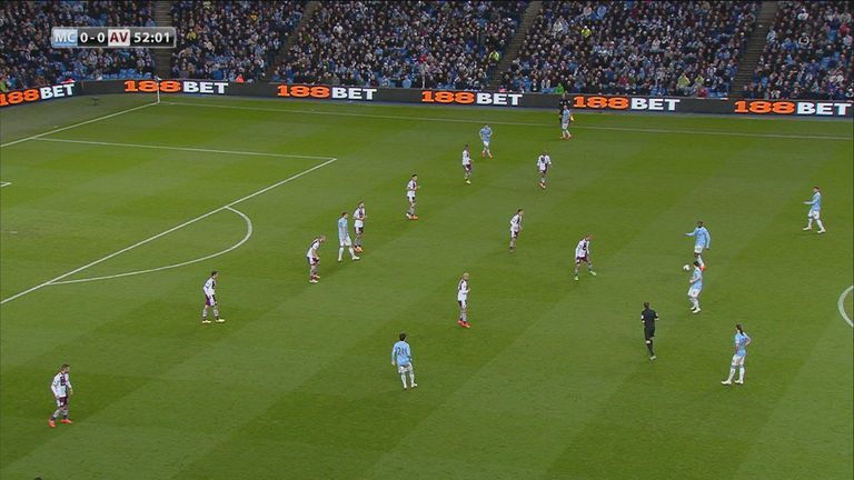 Aston Villa were set up in something resembling a 6-3-1 formation for much of the game