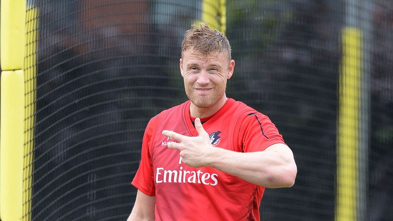 Andrew Flintoff: back in the Lancashire nets