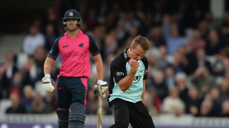 Tom Curran of Surrey celebrates trapping Dan Christian lbw