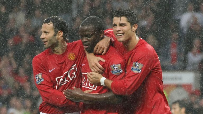 With Giggs and Cristiano Ronaldo
