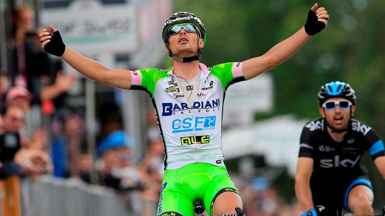 Enrico Battaglin mounted a late surge to win stage 14