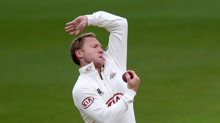 Gareth Batty of Surrey in action during the LV County Championship match between Surrey and Somerset in 2013