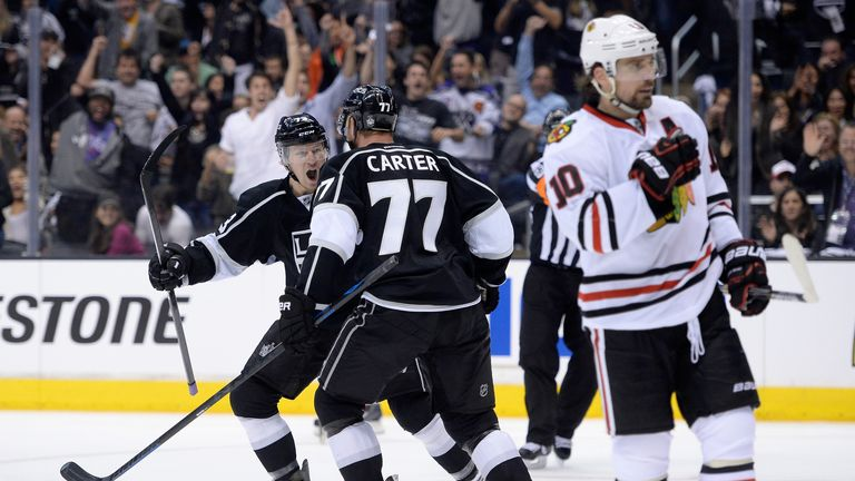 Jeff Carter had a goal and two assists in Saturday's 4-3 win over the Blackhawks