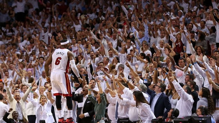 LeBron James celebrates beating Brooklyn Nets in the Eastern Conference semi-finals but the Heat now face the Pacers