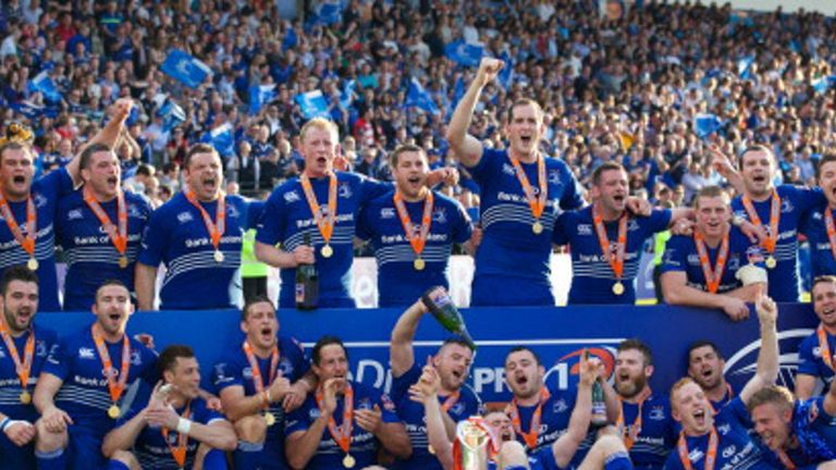 Leinster celebrate PRO12 title success over Glasgow Warriors at the end of May