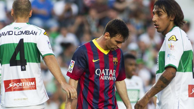 Lionel Messi: Looking dejected during Barcelona's disappointing draw at Elche