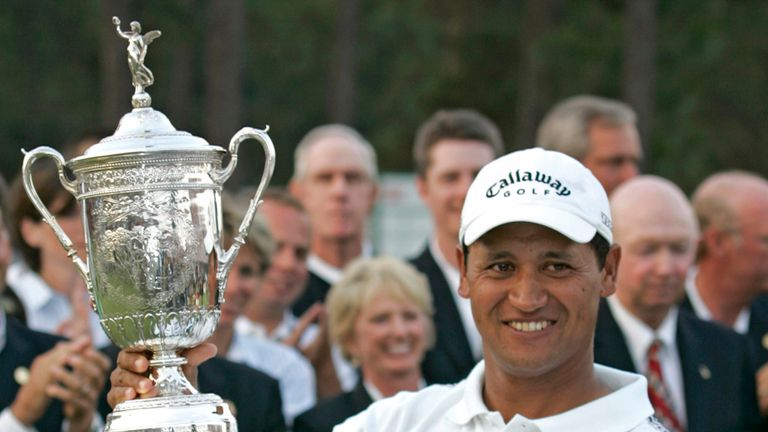 Michael Campbell with the US Open trophy in 2005. He will not be returning to Pinehurst next month