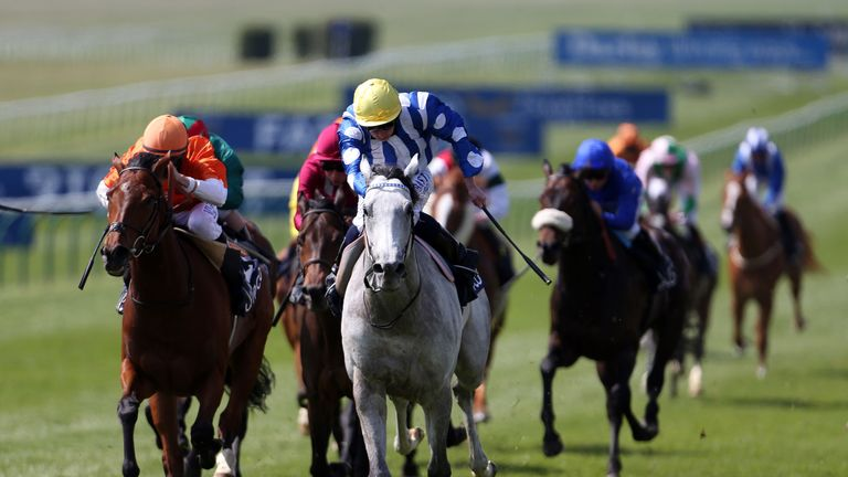 Mighty Yar: Stayed on stoutly under Ryan Moore at Newmarket