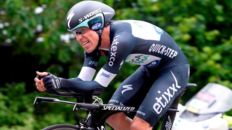 Rigoberto Uran produced the time trial of his career to win stage 12
