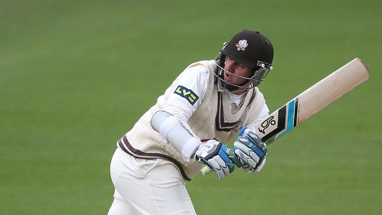 Steven Davies: Reached 54 before falling lbw to spinner Monty Panesar