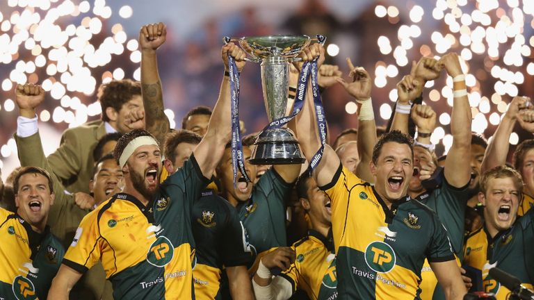 Northampton celebrate their 2014 Challenge Cup success