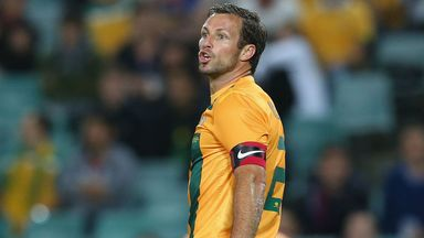 Lucas Neill playing for Australia against Costa Rica last year