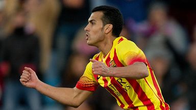 Pedro: Netted a hat-trick for Barcelona