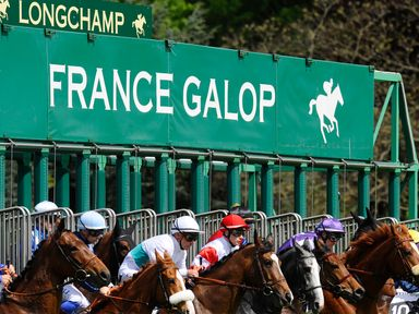 PARIS, FRANCE - APRIL 27:   A general view as runners leave the starting stalls at Longchamp racecourse on April 27, 2014 in Paris, France. (Photo by Alan