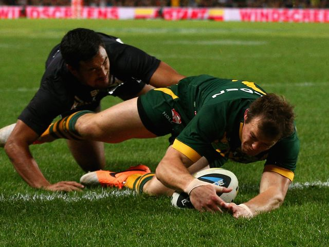 Brett Morris scores a try for Australia