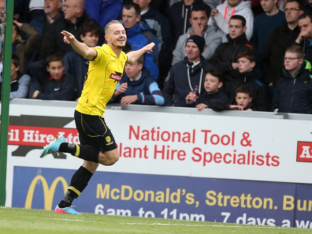 Adam McGurk celebrates Burton's winner