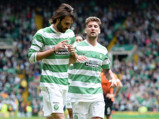 Georgios Samaras celebrates what is set to be his final Celtic goal