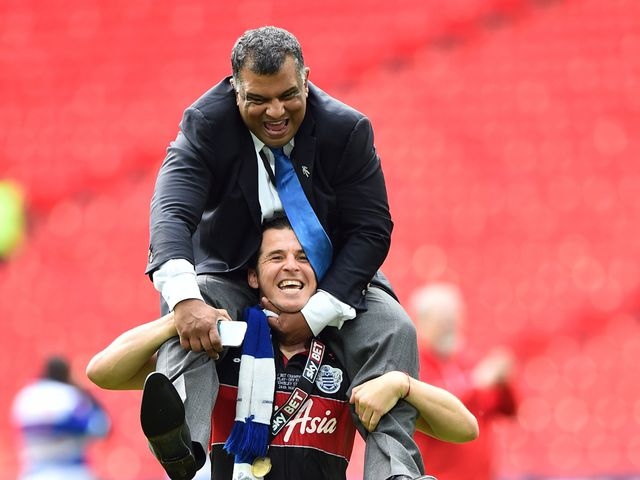 Joey Barton carries QPR owner Tony Fernandez on his shoulders