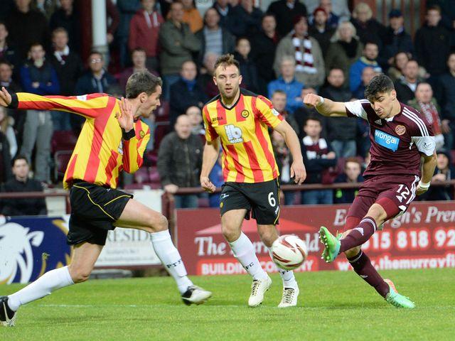 Callum Paterson scores to give Hearts the lead
