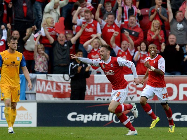 Lee Frecklington celebrates after heading Rotherham ahead