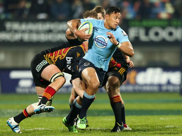 Israel Folau on the charge against the Chiefs in Hamilton